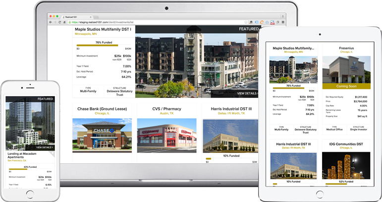 The Realized1031 Marketplace on multiple devices