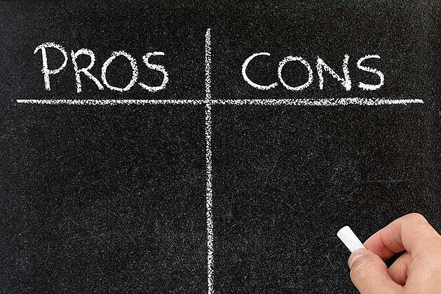 Pros and Cons on a Chalkboard
