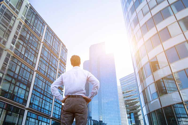 Man Evaluating Commercial Real Estate